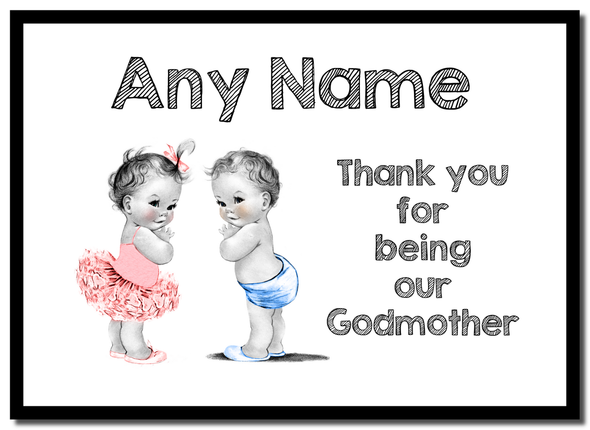Baby Twin Boy & Girl Godmother Thank You  Personalised Mousemat