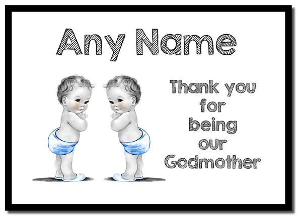 Baby Twin Boys Godmother Thank You  Personalised Mousemat