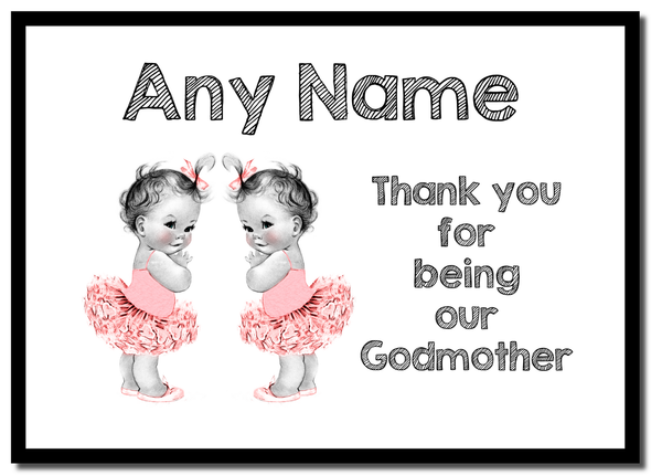 Baby Twin Girls Godmother Thank You  Personalised Mousemat