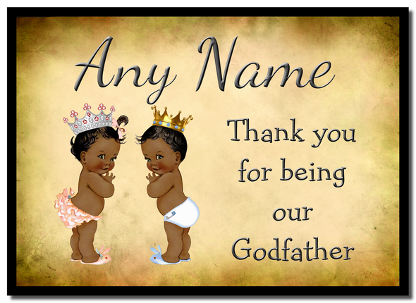 Vintage Baby Twin Black Girl & Boy Godfather Thank You  Personalised Mousemat