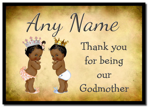 Vintage Baby Twin Black Girl & Boy Godmother Thank You  Personalised Mousemat