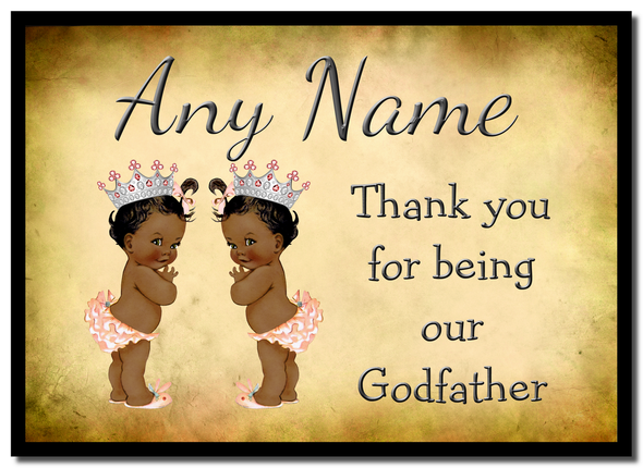Vintage Baby Twin Black Girls Godfather Thank You  Personalised Mousemat