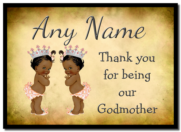 Vintage Baby Twin Black Girls Godmother Thank You  Personalised Mousemat