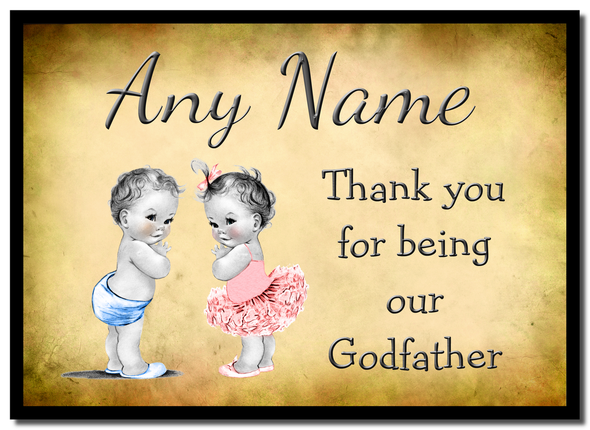 Vintage Baby Twin Boy & Girl Godfather Thank You  Personalised Mousemat