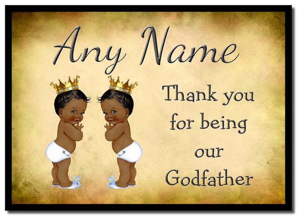 Vintage Baby Twin Black Boys Godfather Thank You  Personalised Mousemat