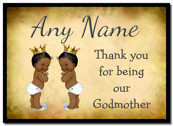 Vintage Baby Twin Black Boys Godmother Thank You  Personalised Mousemat