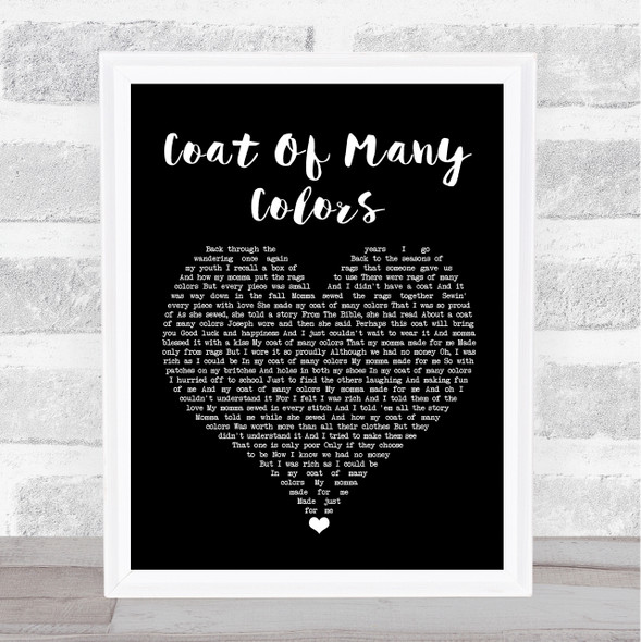 Dolly Parton Coat Of Many Colors Black Heart Song Lyric Quote Music Print