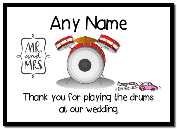 Thank You For Playing The Drums At Our Wedding  Personalised Mousemat