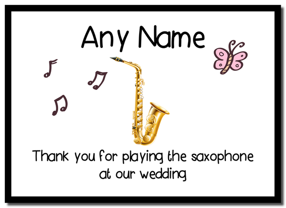 Thank You For Playing The Saxophone At Our Wedding  Personalised Mousemat