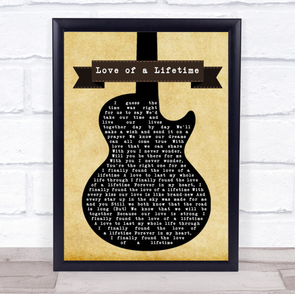 Firehouse Love of a Lifetime Black Guitar Song Lyric Quote Music Print