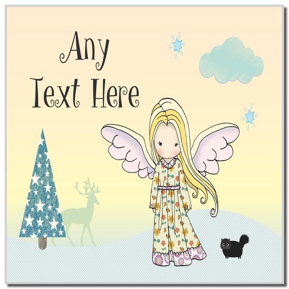 Angel Blond Hair Christmas Personalised Coaster