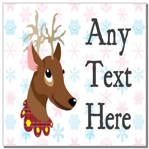 Reindeer Snowflakes Christmas Personalised Coaster