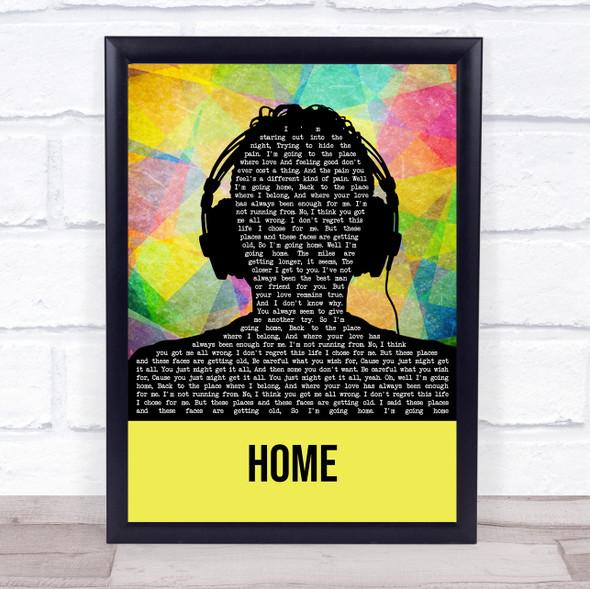Home Multicolour Man Headphones Song Lyric Quote Music Print