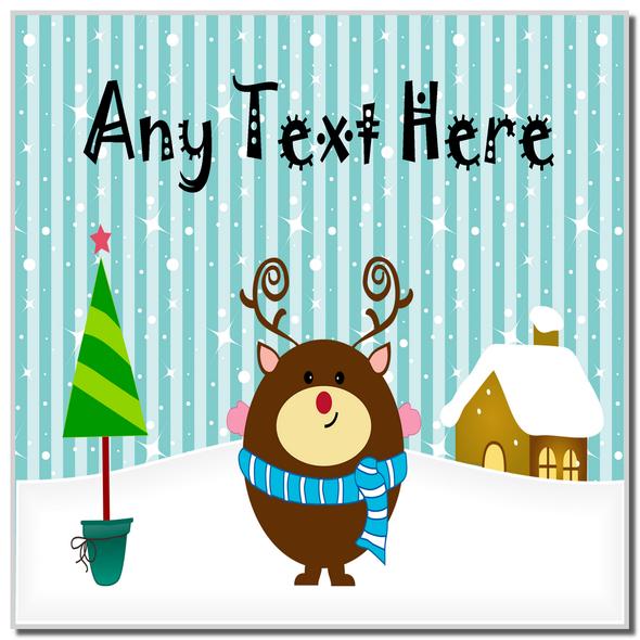 Reindeer Winter Scene Christmas Personalised Coaster