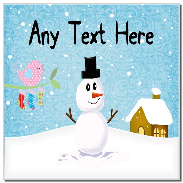 Snowman and Bird Singing Christmas Personalised Coaster