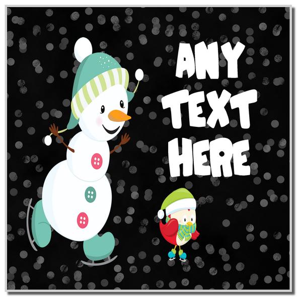Snowman Ice Skating Christmas Personalised Coaster