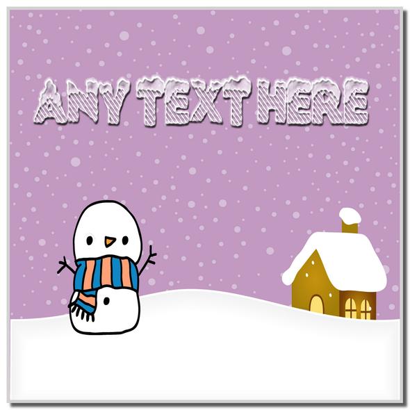 Snowman Snowy Scene Christmas Personalised Coaster