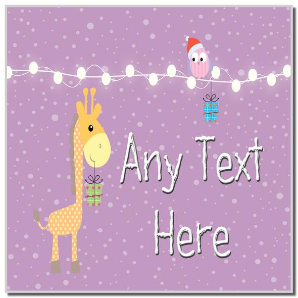 Giraffe and Present Christmas Personalised Coaster