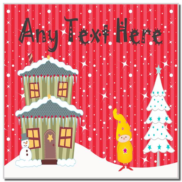 Gnome Winter Scene Christmas Personalised Coaster