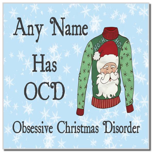 Novelty Jumper OCD Christmas Personalised Coaster