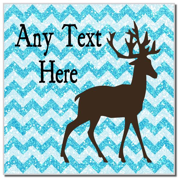 Reindeer Blue Glitter Christmas Personalised Coaster