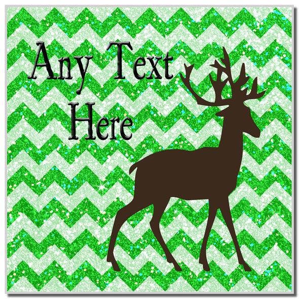 Reindeer Green Glitter Christmas Personalised Coaster