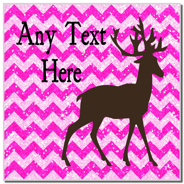 Reindeer Pink Glitter Christmas Personalised Coaster