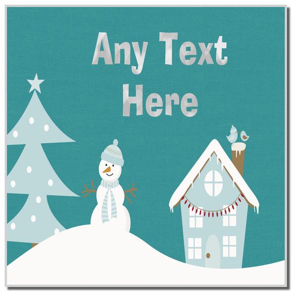 Snowman Winter Scene Christmas Personalised Coaster