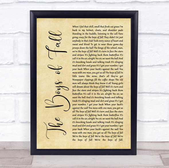 Kenny Chesney The Boys of Fall Rustic Script Song Lyric Quote Music Print