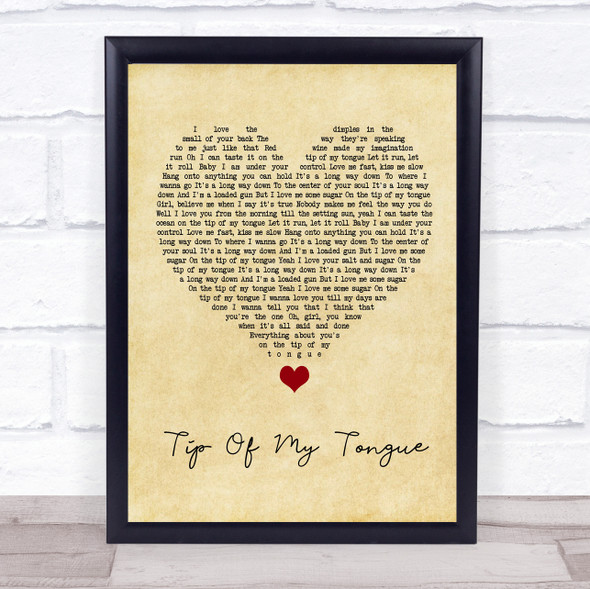 Kenny Chesney Tip Of My Tongue Vintage Heart Song Lyric Quote Music Print