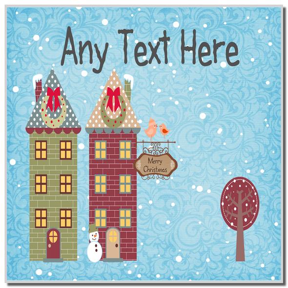 Christmas Town Houses Christmas Personalised Coaster