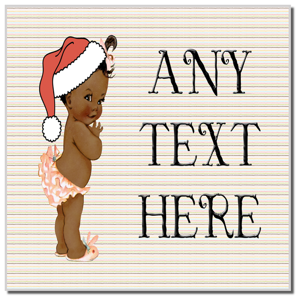 Vintage Xmas Brown Skin Girl Christmas Personalised Coaster
