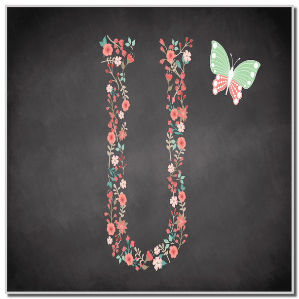 Chalk Letter Initial U Personalised Coaster