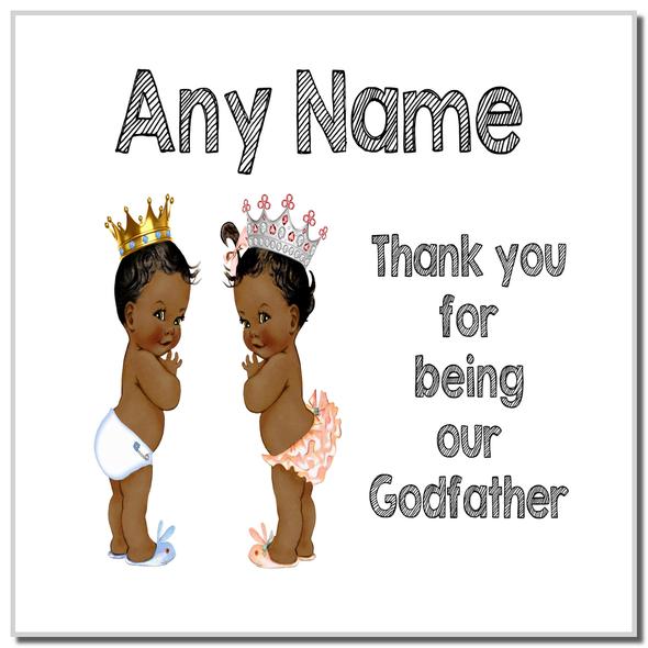 Baby Twin Black Boy & Girl Godfather Thank You Personalised Coaster
