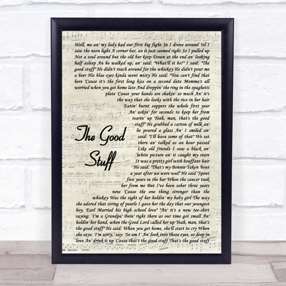 Kenny Chesney The Good Stuff Vintage Script Song Lyric Quote Music Print