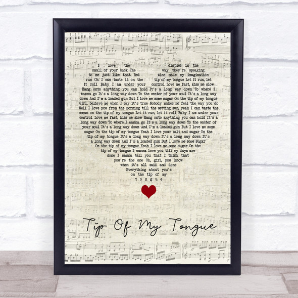 Kenny Chesney Tip Of My Tongue Script Heart Song Lyric Quote Music Print