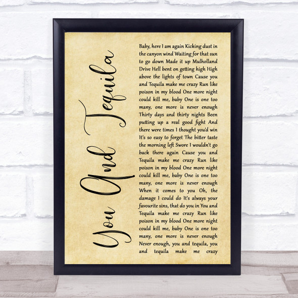 Kenny Chesney You And Tequila Rustic Script Song Lyric Quote Music Print