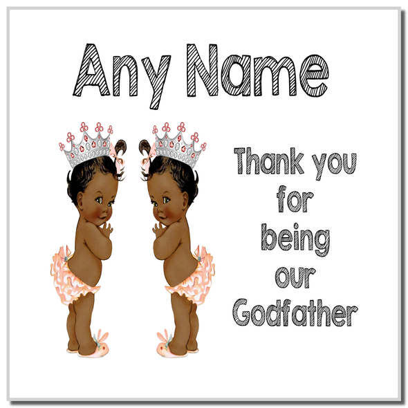 Baby Twin Black Girls Godfather Thank You Personalised Coaster