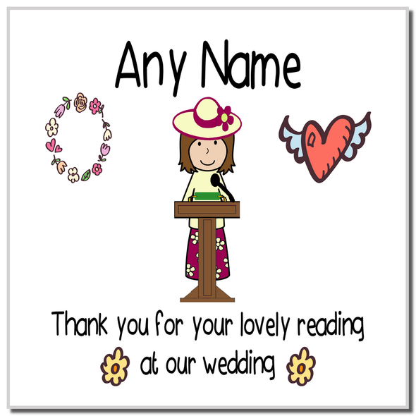 Thank You For Doing A Reading At Our Wedding Woman Personalised Coaster