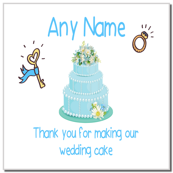 Thank You For Making Our Wedding Cake Blue Personalised Coaster