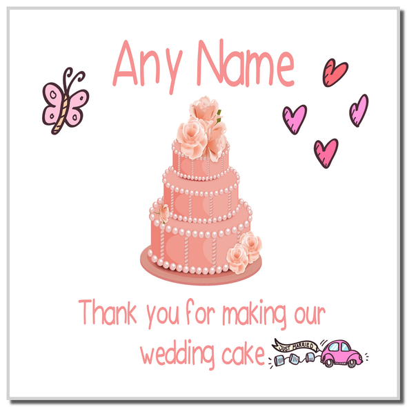 Thank You For Making Our Wedding Cake Coral Personalised Coaster