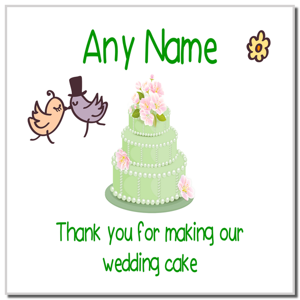 Thank You For Making Our Wedding Cake Green Personalised Coaster