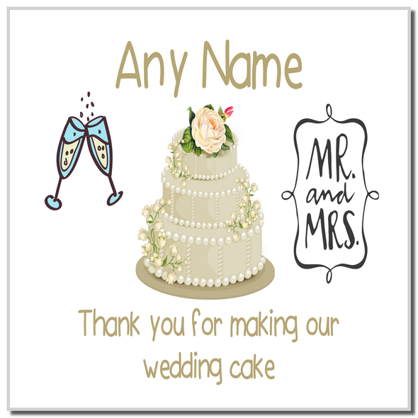 Thank You For Making Our Wedding Cake Ivory Personalised Coaster