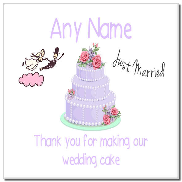 Thank You For Making Our Wedding Cake Lilac Personalised Coaster