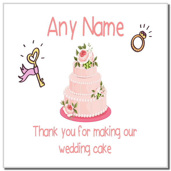 Thank You For Making Our Wedding Cake Pink Personalised Coaster