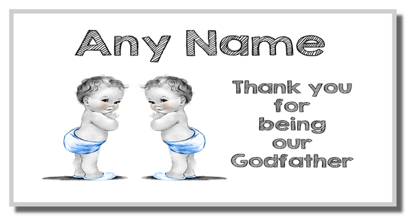 Baby Twin Boys Godfather Thank You Personalised Coaster
