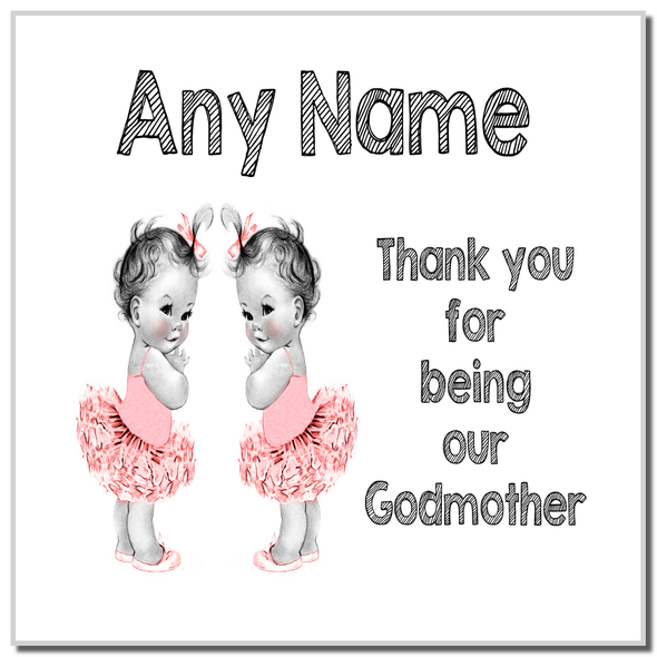 Baby Twin Girls Godmother Thank You Personalised Coaster