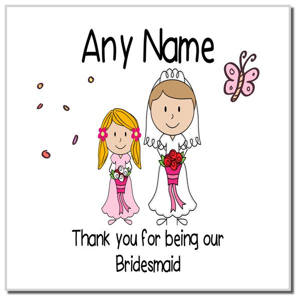 Thank You Bridesmaid Personalised Coaster