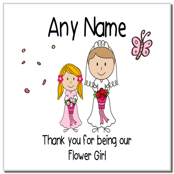 Thank You Flower Girl Personalised Coaster