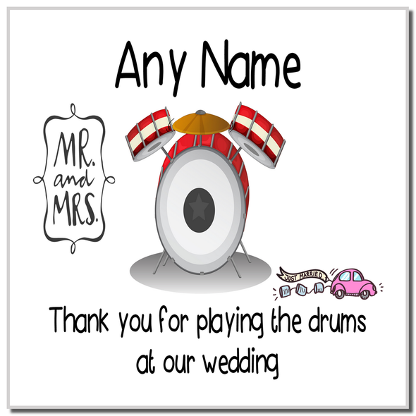 Thank You For Playing The Drums At Our Wedding Personalised Coaster